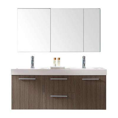 Midori 54 in. W x 19 in. D Vanity in Grey Oak with Poly-Marble Vanity Top in White with White Square Basin and Mirror