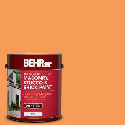 1 gal. #P220-6 Bergamot Orange Flat Interior/Exterior Masonry, Stucco and Brick Paint