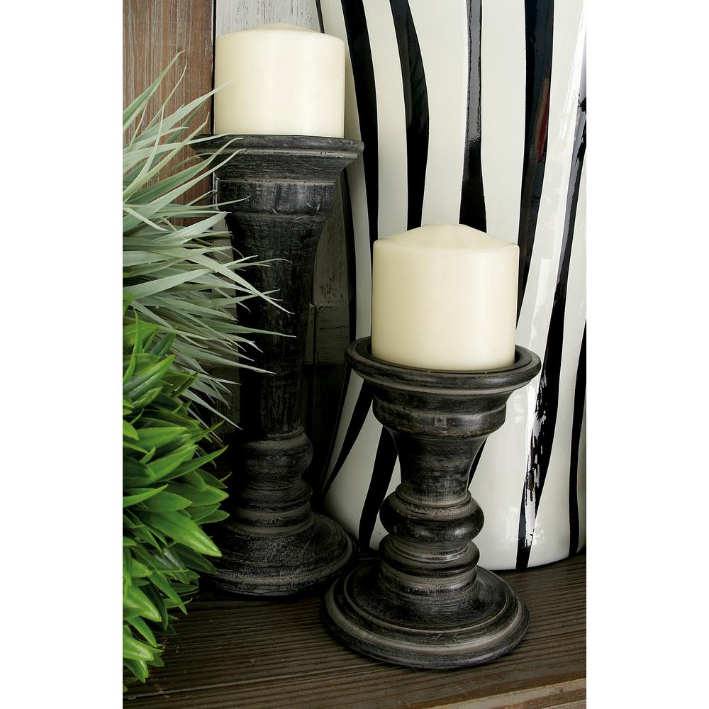 Litton lane distressed black mango wood with flared top candle holders set of 3