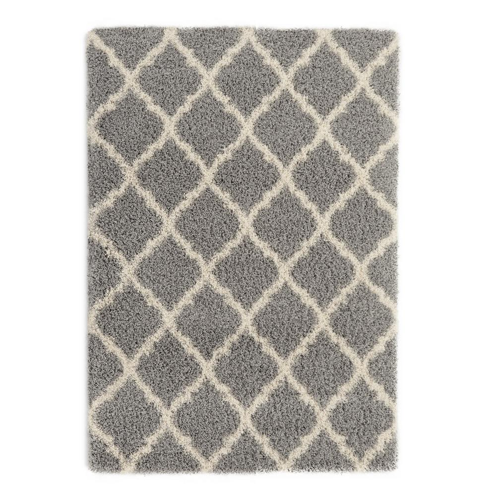 Berrnour Home Plush Moroccan Trellis Design Grey 5 ft. x 7 ft. Shag Area Rug, Gray and Cream was $80.77 now $60.58 (25.0% off)