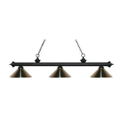 Elba 3-Light Matte Black Island Light with Brushed Nickel Shades