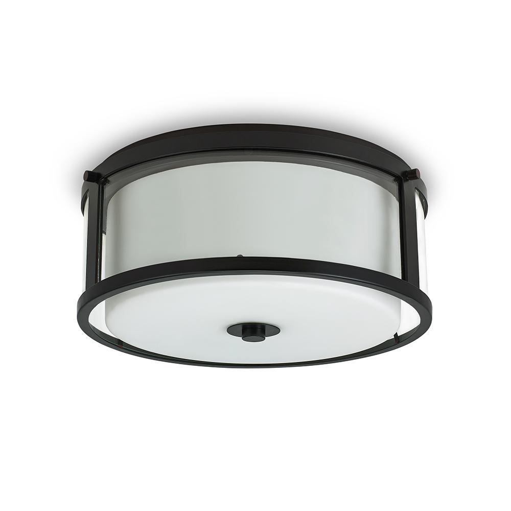 2-Light Bronze Dual Glass Flushmount
