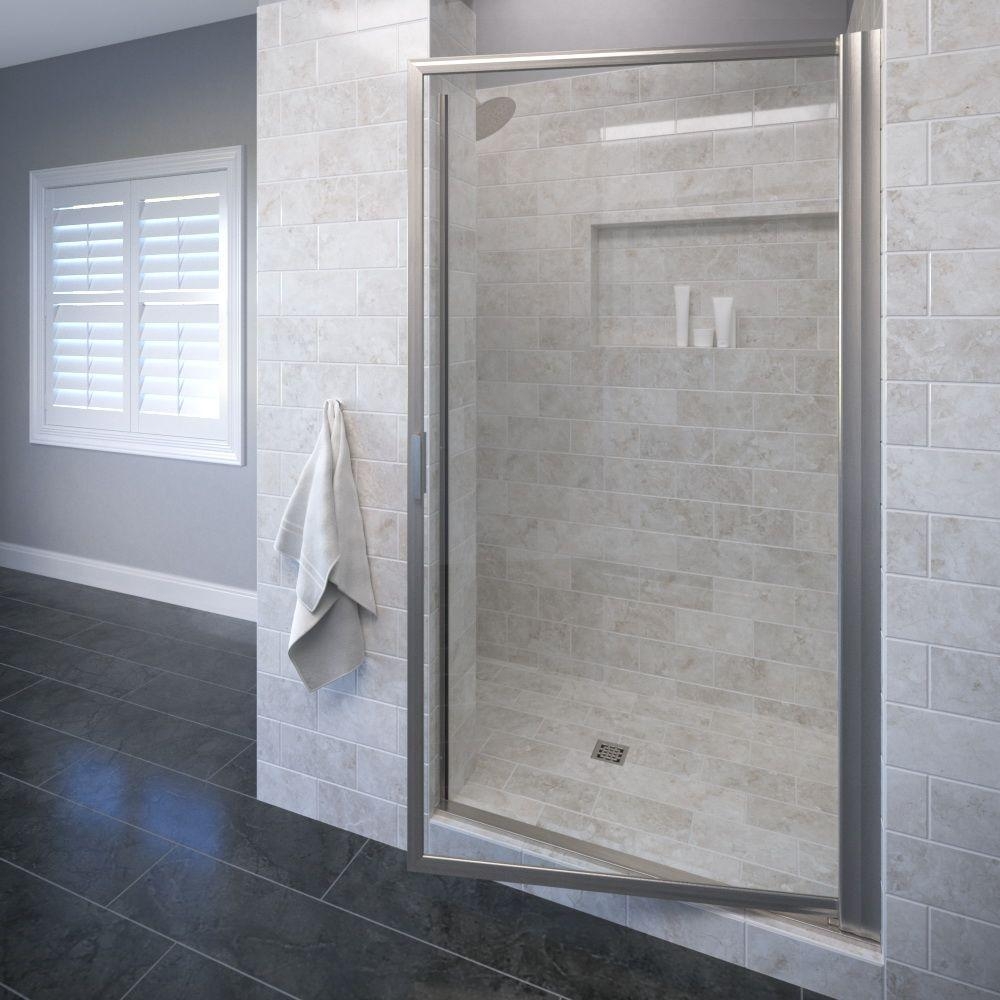 Basco Sopora 29-1/2 in. x 70-1/2 in. Framed Pivot Shower Door in Brushed Nickel with Clear Glass