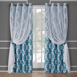 Alegra Turquoise Layered Gated Blackout and Sheer Grommet Top Window Curtain