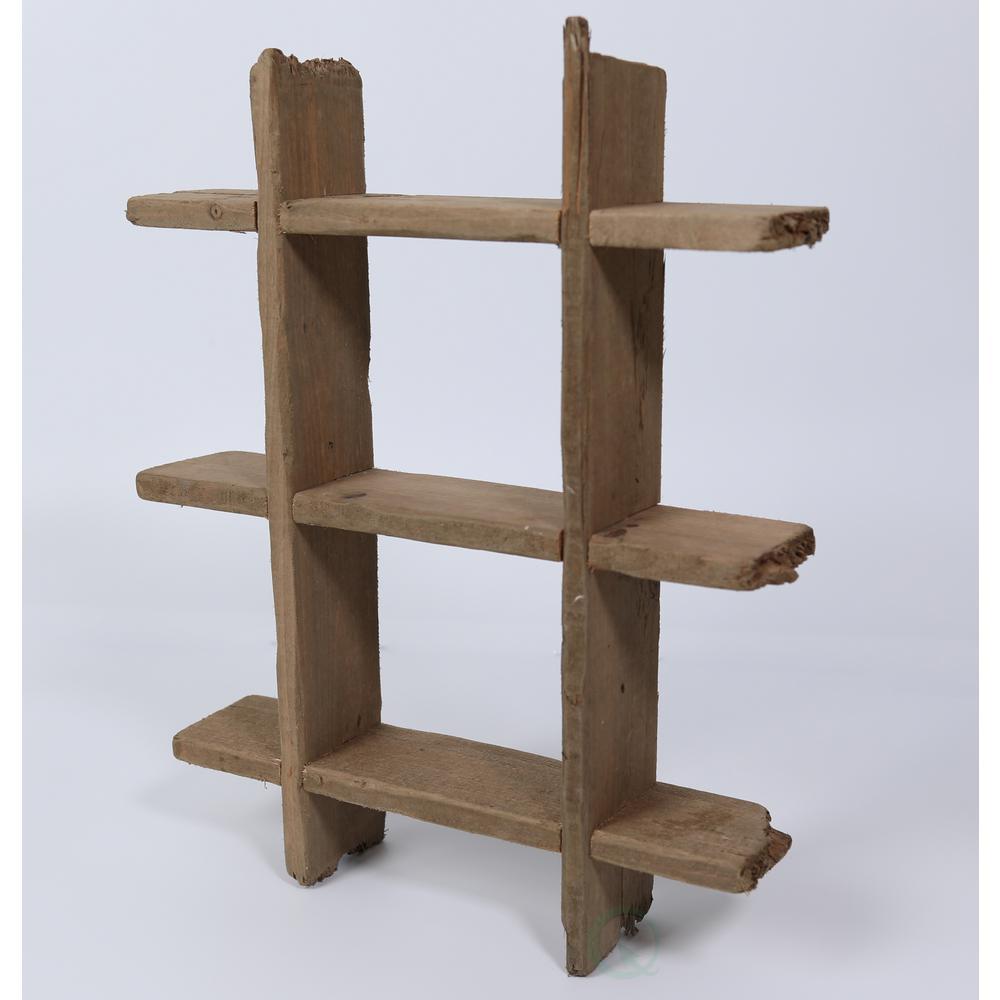18.25 in. W x 23 in. H x 4 in. L Rustic Wooden Floating Shelf
