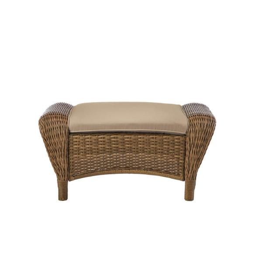 Beacon Park Brown Wicker Outdoor Patio Ottoman with Sunbrella Beige Tan Cushions