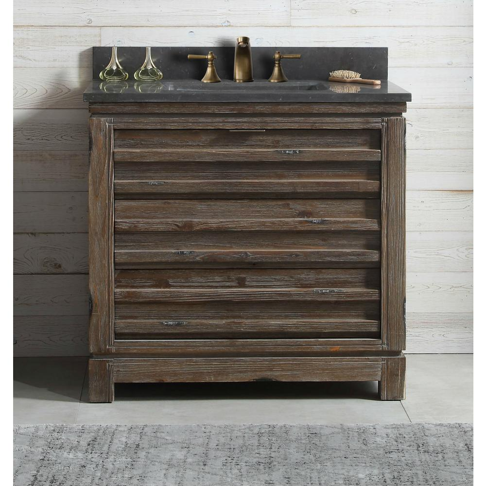 36 in. Vanity in Brown with Black Moon Stone Top with White Basin