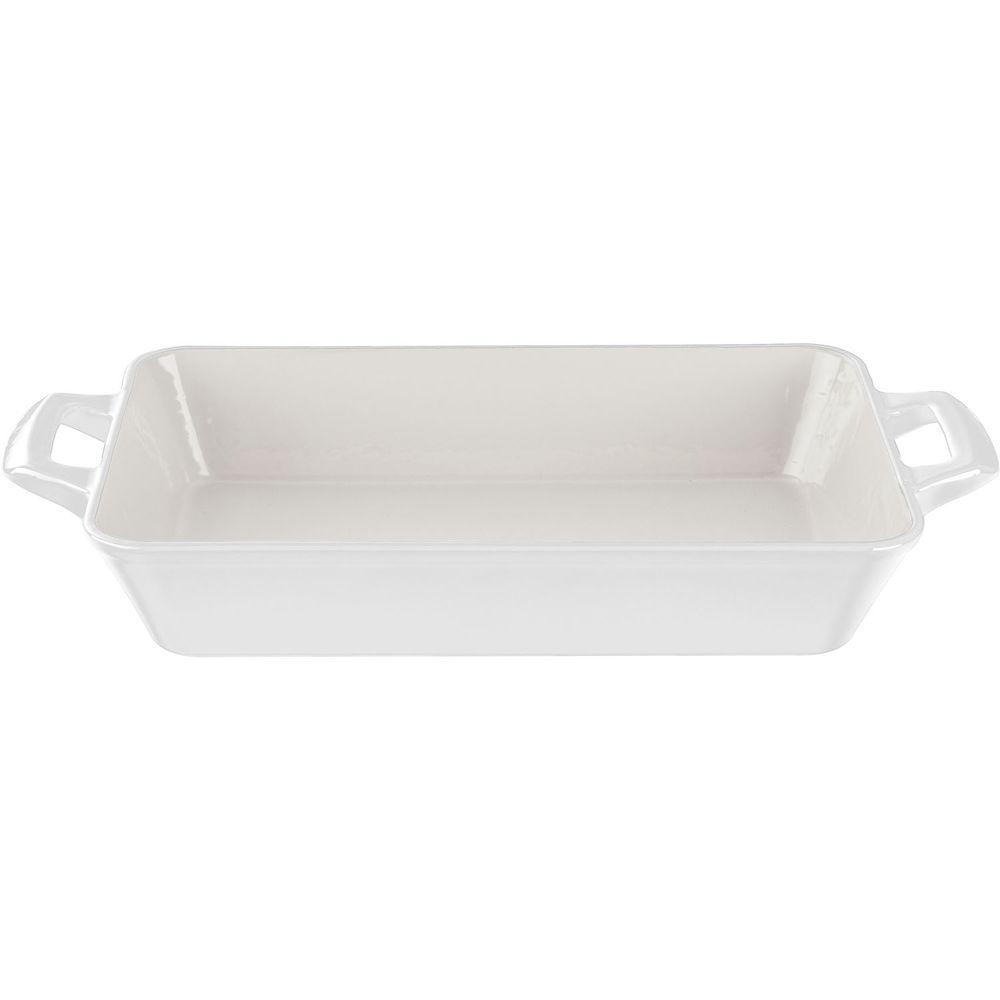 Medium Deep Cast Iron Roasting Pan with Enamel Finish in White