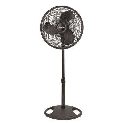 16 in. Oscillating Stand Fan in Black