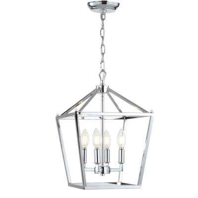 Pagoda 12 in. 4-Bulb Chrome Lantern Metal LED Pendant