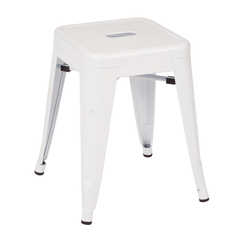 White powder coated steel metal backless stool fully assembled 2 pack ptr3018a2 11 the home depot