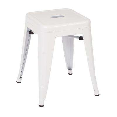 Patterson 18 in. White Powder Coated Steel Metal Backless Stool Fully Assembled (2-Pack)