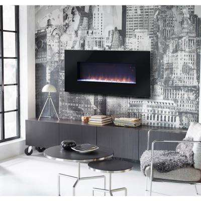 Paris 41 in. Wall-Mount Electric Fireplace with Remote in Black