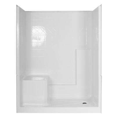 Elizabeth 60 in. x 33 in. x 77 in. 3-Piece Low Threshold Shower Stall in White with Left Seat and Right Drain