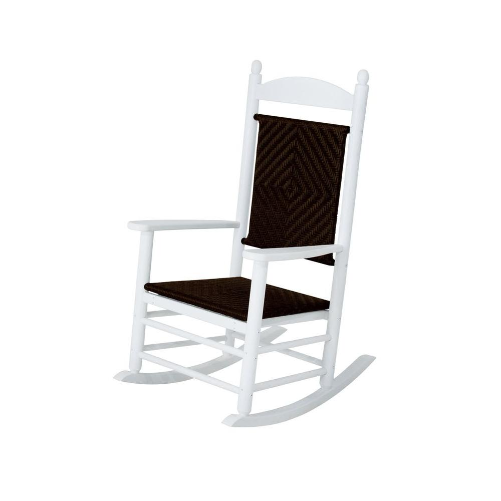 Jefferson White Woven Patio Rocker with Cahaba Weave