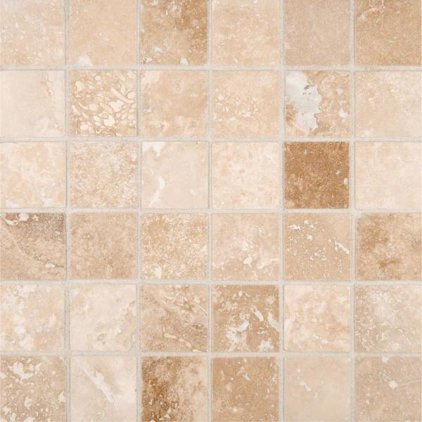 Msi Ivory 12 In X 12 In X 10mm Honed Travertine Mesh Mounted Mosaic Tile 10 Sq Ft Case Sh Ivo2x2 The Home Depot