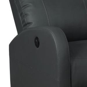Excellent Ac Pacific Black Sean Modern Leather Infused Small Power Machost Co Dining Chair Design Ideas Machostcouk