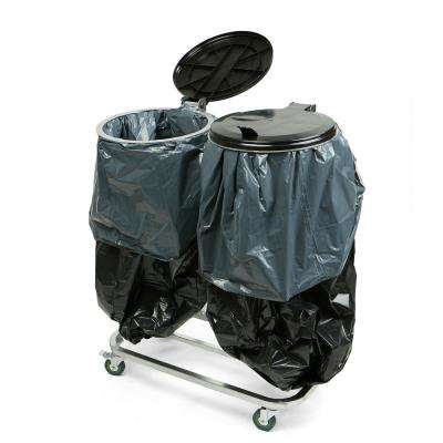 Black Metal Dual Portable Trash Bag and Garbage Bag Holder with Lids for Outdoor/Indoor Trash Can