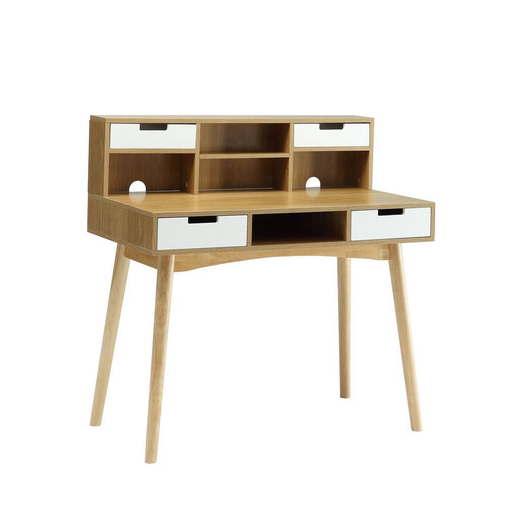 Designs2Go Oslo White and Light Oak Deluxe Desk with Hutch