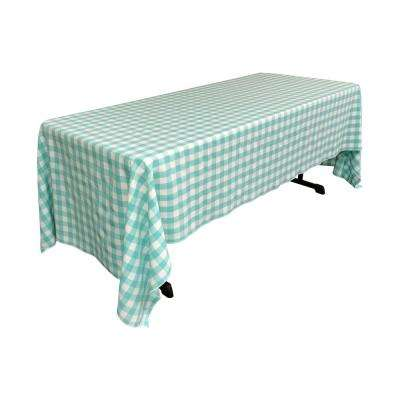 60 in. x 120 in. White and Mint Polyester Gingham Checkered Rectangular Tablecloth