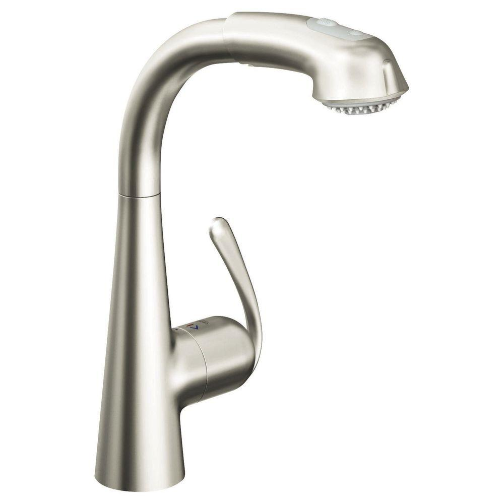 Grohe ladylux plus main single handle pull out sprayer kitchen faucet in infinity super