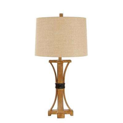 Liam 29 in. Brown Table Lamp with Linen Shade