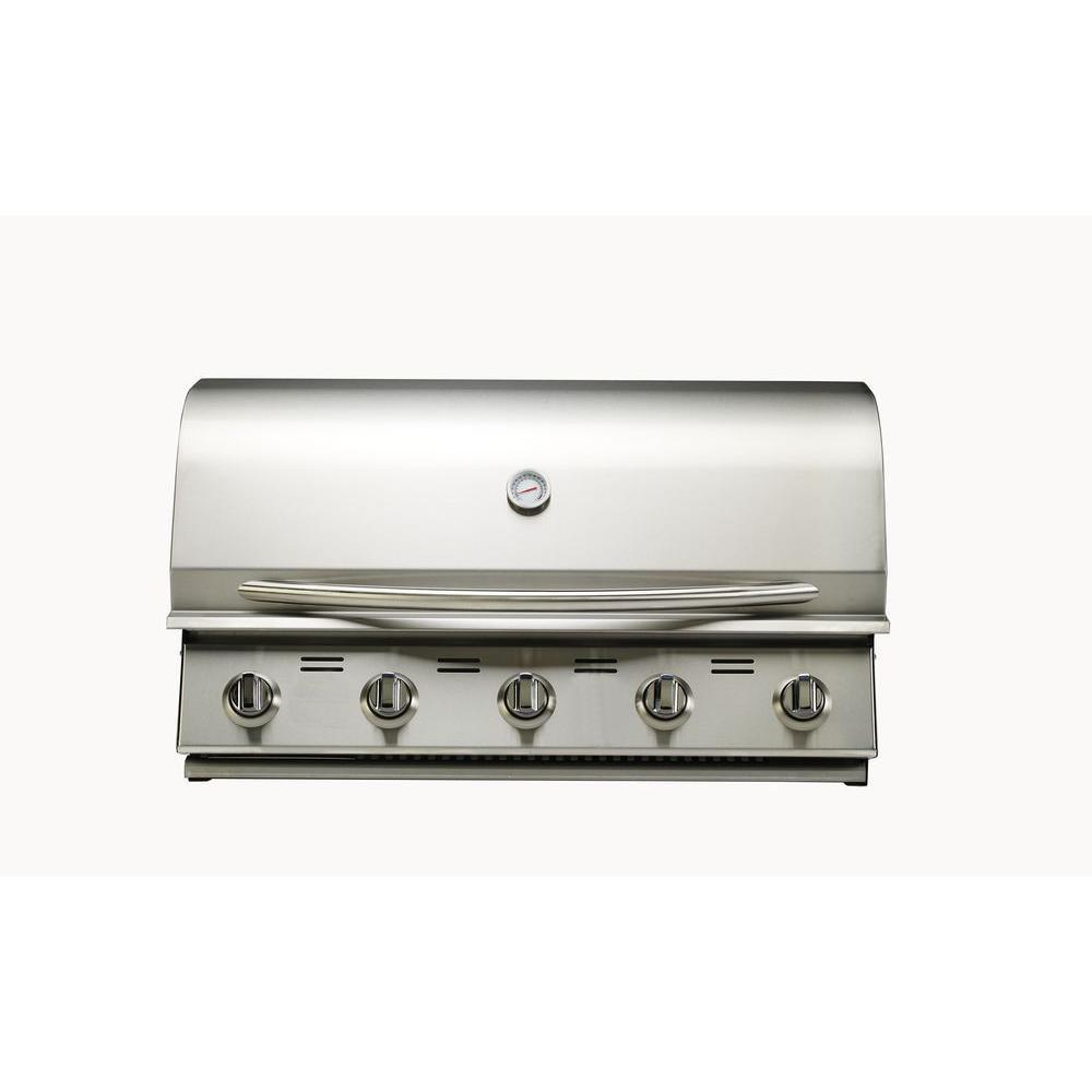 bull 5 burner built in propane gas grill in stainless steel 54658