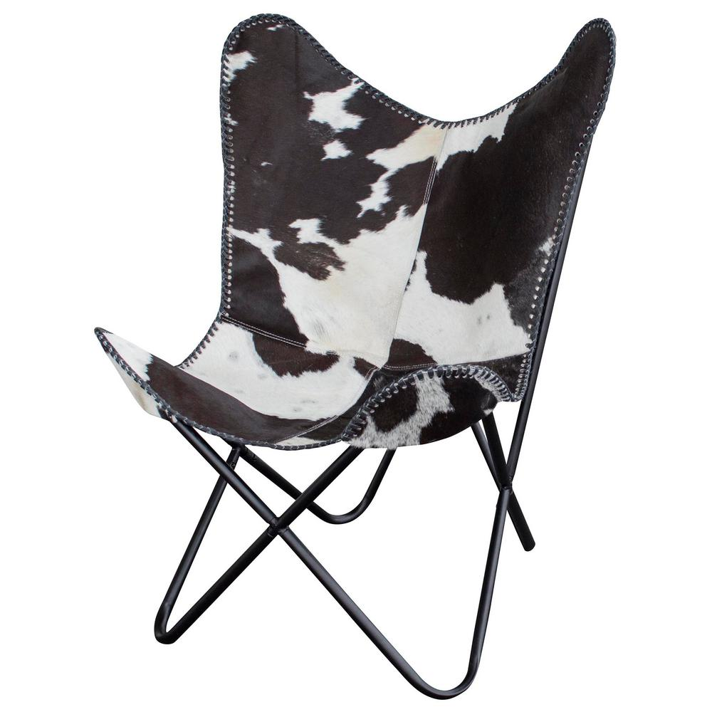 Natural Cow Print Hide Leather Butterfly Chair Ebay