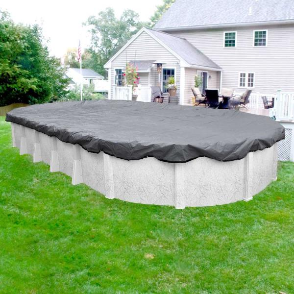Ultra 18 ft. x 33 ft. Oval Dove Gray Solid Above Ground Winter Pool Cover