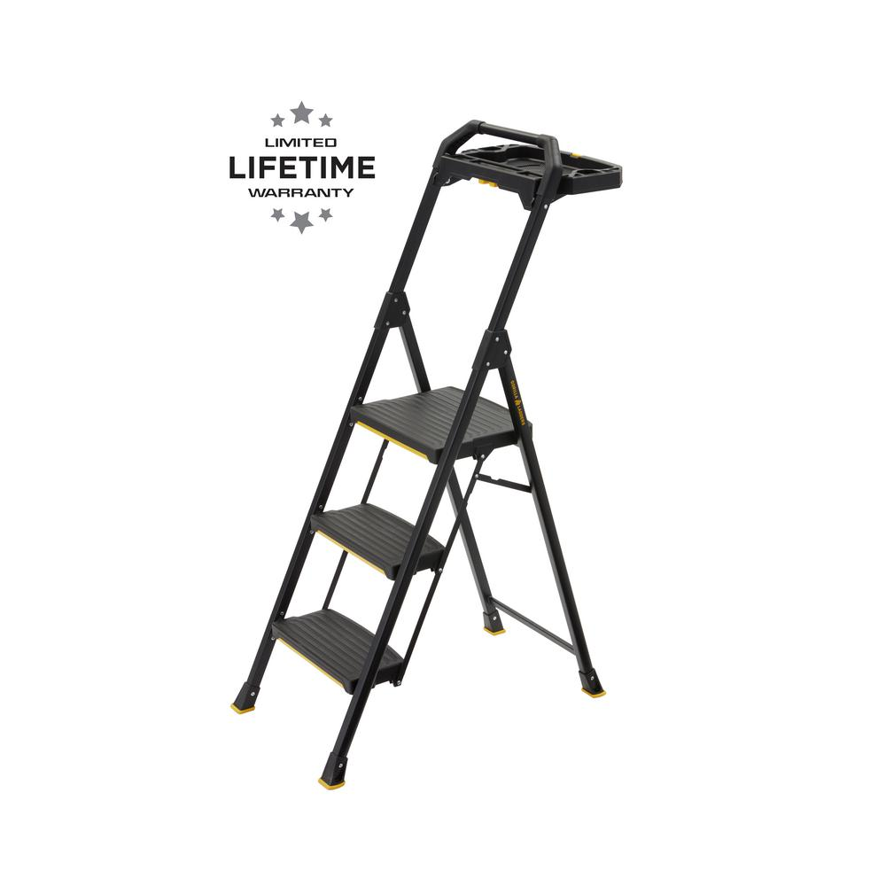 Gorilla Ladders 3-Step Pro-Grade Steel Project Ladder, 300 lbs. Load Capacity Type IA Duty Rating