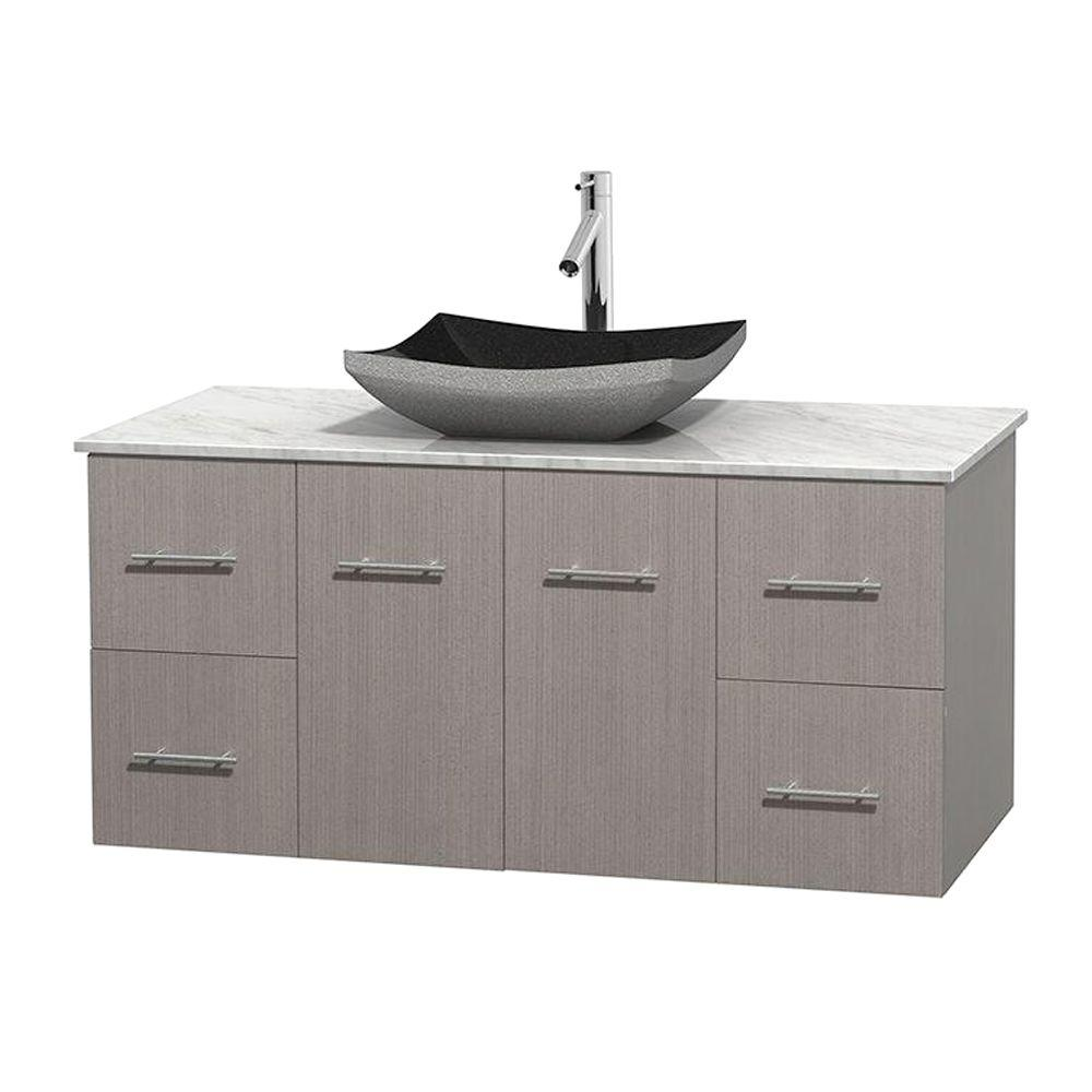 black bathroom vanity with white marble top wyndham collection centra 48 in vanity in gray oak with 25985