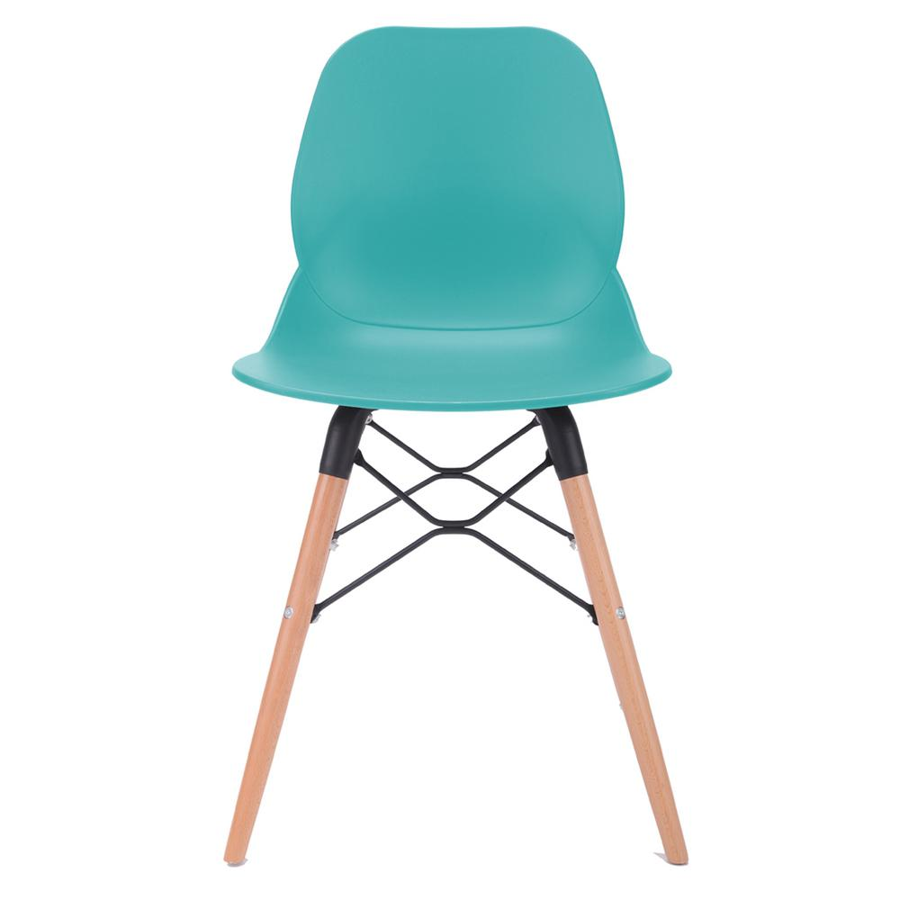 Joy Series Turquoise Dining Shell Side Designer Task Chair with Beech Wood Legs (Set of 2) - Great for Home, Office