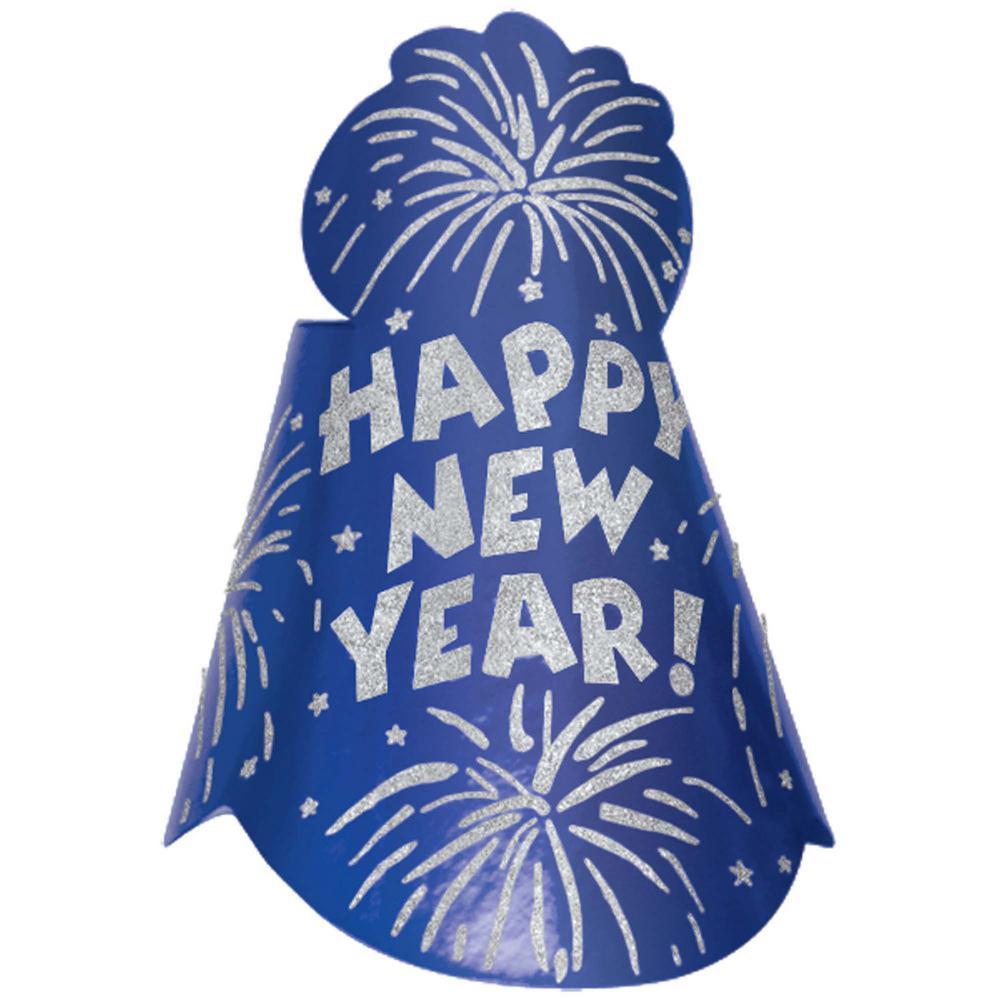 New Year's 9 in. Blue Glitter Foil Cone Hat (12-Pack)
