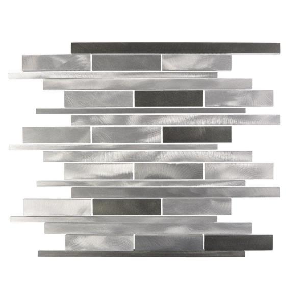 City Lights NY Gray Wide Linear Mosaic 12 in. x 12 in. Brushed Aluminum Metal Wall Tile (1 Sheet)