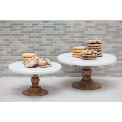 10 in. x 5 in. White Marble and Brown Wood Cake Stand
