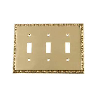 Egg and Dart Switch Plate with Triple Toggle in Polished Brass