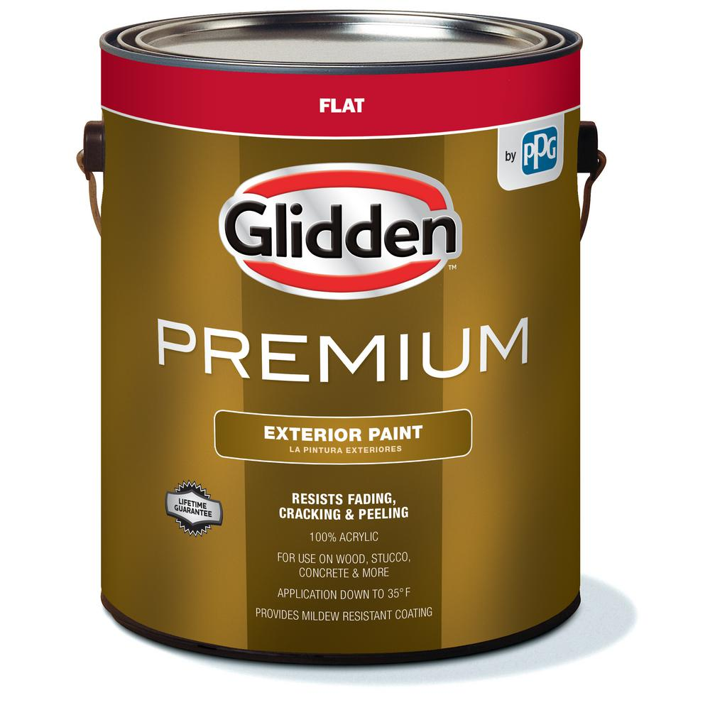 Glidden Premium 1 Gal Flat Base White Exterior Latex Paint