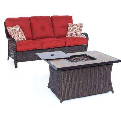 Orleans Brown 2-Piece All-Weather Wicker Patio Fire Pit Seating Set with Autumn Berry Cushions and Wood Grain Table Top