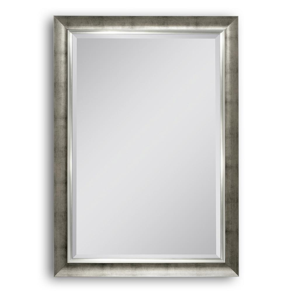 Deco Mirror 30 in. W x 42 in. H Textured Mesh Wall Mirror in ...