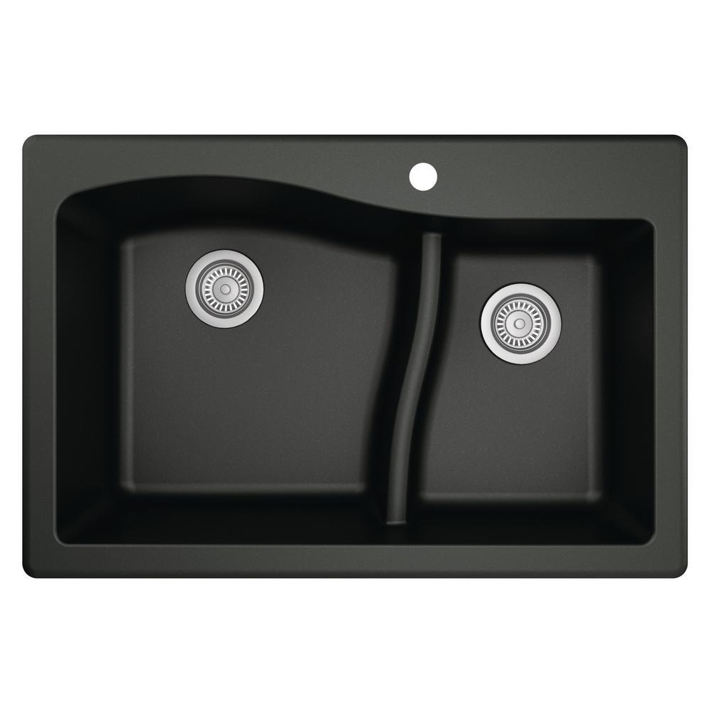 Drop-In Quartz Composite 33 in. 1-Hole 60/40 Double Bowl Kitchen Sink in Black