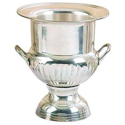 Silver Brass Wine Bucket With Two Side Handles In Traditional Style