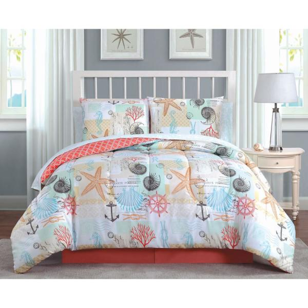 Belize 6-Piece Coral Twin Bed in a Bag BEL6BBTWINGHCO