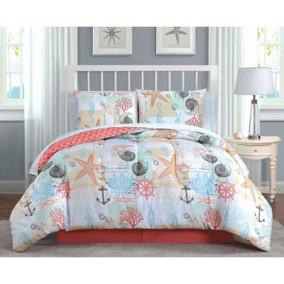 Belize 8-Piece Coral Queen Bed in a Bag Set