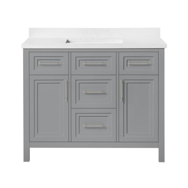 Home Decorators Collection Mayfield 42 In W X 22 In D Vanity In American Gray With Cultured Marble Vanity Top In White With White Basin Mayfield 42ag The Home Depot