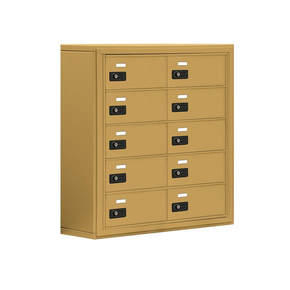 Salsbury Industries 19000 Series 30.5 in. W x 31 in. H x 9.25 in. D 10 B Doors S-Mount Resettable LocksCell Phone Locker in Gold