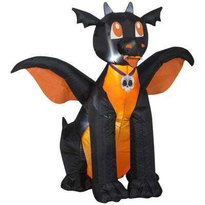 3 5 Ft Pre Lit Inflatable Winged Black Orange Dragon Air Blown