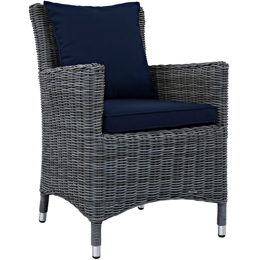 Summon Patio Wicker Outdoor Dining Chair with Sunbrella Canvas Navy Cushions