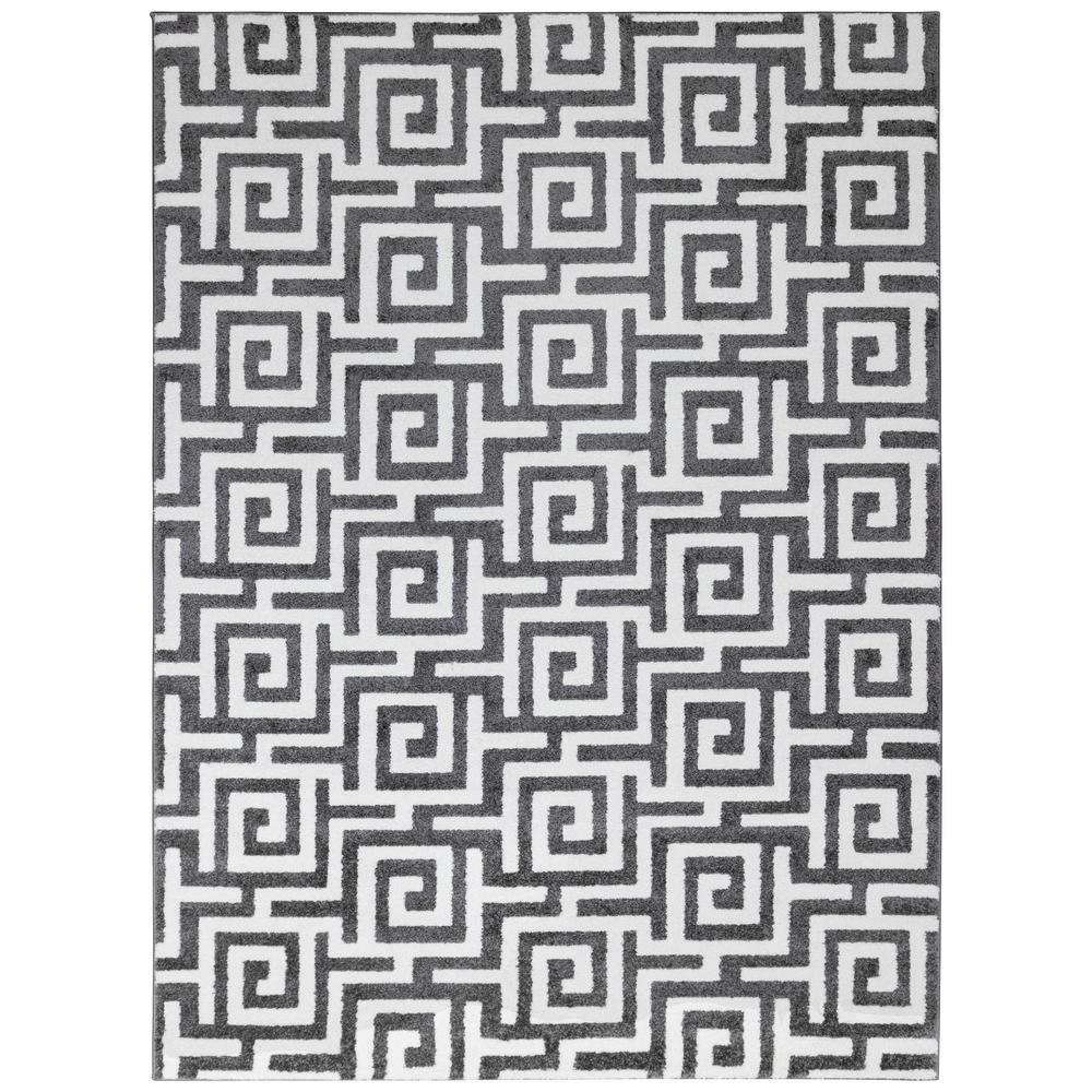 City Collection Dark Gray Greek Key 5 Ft X 7 Indoor Area Rug
