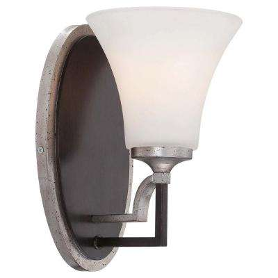 Astrapia 1-Light Dark Rubbed Sienna with Aged Silver Bath Light
