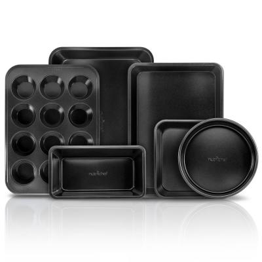 Carbon Steel, Non-Stick Black Coating Inside & Outside Bake Tray Sheet Bakeware Set (6-Pieces)